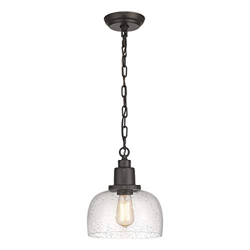 Eapudun Modern Farmhouse Pendant Light, 1-Light Industrial Hanging Light Fixture 9.3-inch, Oil Rubbed Bronze Finish with Clear Seeded Glass Shade, PDA1127-ORB