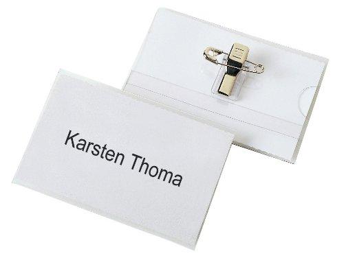 Placas identificativas 60 x 90 mm, con clip y aguja, 25 unidades