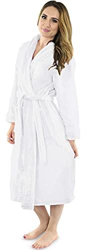 NY Threads Womens Fleece Bathrobe - Shawl Collar Soft Plush Robe Spa Robe (Large, White)
