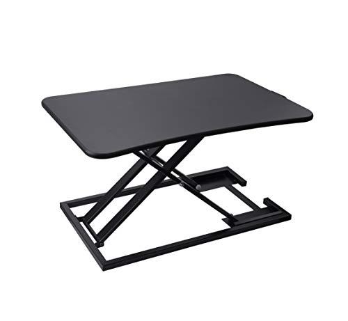 昇降式多機能テーブル スタンディングデスク 無段階の高さ調整 組み立て不要 折り畳み ガス圧/ⅹ字型金属テーブル 操作簡単 ワンタッチで調整可能 (ブラック)