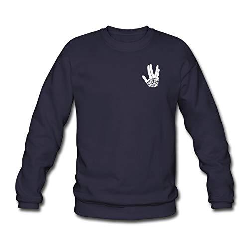 Star Trek Discovery Salut Vulcain Blanc Sweat-Shirt Unisex, 3XL, Marine