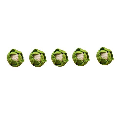 Whiie891203 5 Stücke 1/12 Puppenhaus Zubehör, Modell Rollenspiel Miniatur Gemüse Kürbis Ton Puppenhaus Boden Puppenhaus Dekor DIY Rollenspiel Spielzeug für Mädchen Jungen Cauliflower#