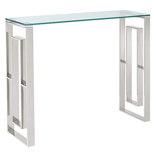 Whi Contemporary Console, Sofa, Glass and Chrome TABLE, SILVER