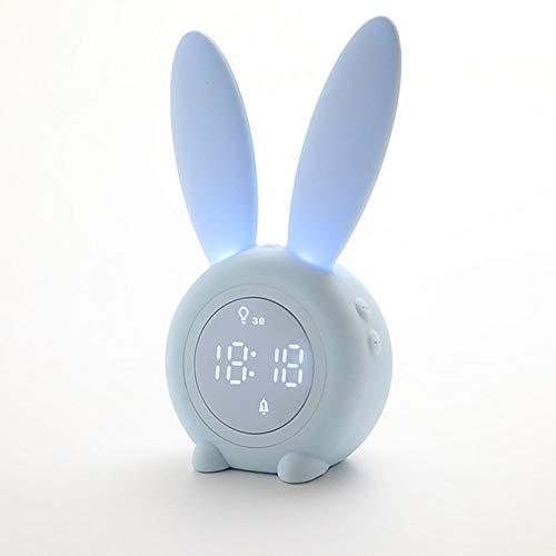 Yang1mn Lindo Conejo LED Reloj de alarma temporizado Control de voz Luz nocturna Inducción del sueño Temperatura de la luz Carga por USB (Color : Blue)