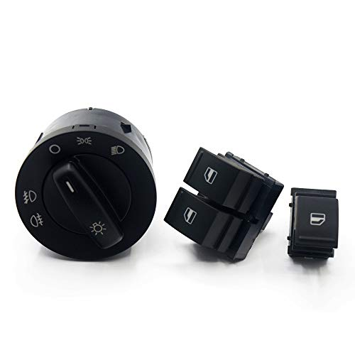 NAWQK Botón del Interruptor de Control de la Ventana de la Ventana del Faro de 3SET 1K0 941 431Q 1K3 959 857A 1F0 959 855 FIT FOR para EOS Golf 5 6 GTI Fit para PA * SS * en CC Tiguan