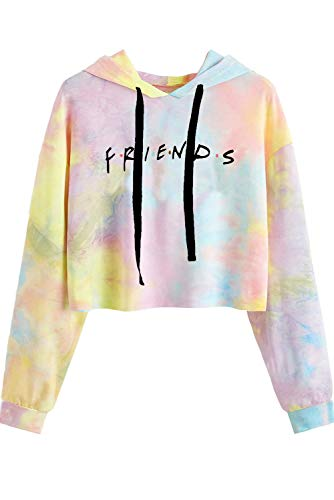 Idepet Women's Casual Letters Print Crop Top Loose Pullover Friends Shirt Teen Girl TV Show Hoodie Sweatshirt(Colorful Yellow,X-Small)