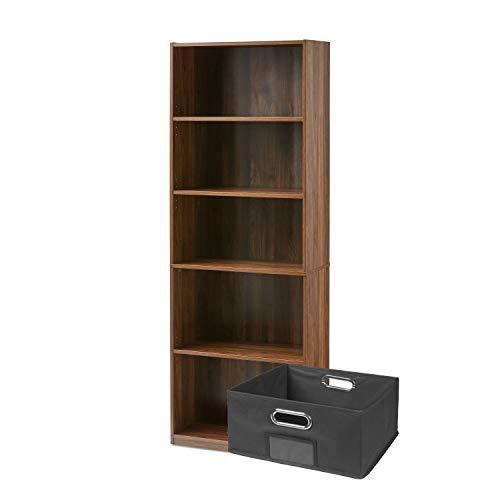 "Price comparison product image Mainstay 71"" 5-Shelf Standard Bookcase and Gray Fabric Bin Bundle (Canyon Walnut,  71"")"