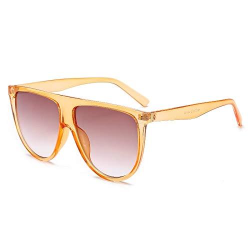 ShZyywrl Gafas De Sol Gafas De Sol De Lujo Lady Retro Vintage Flat Sunglasses Champagne
