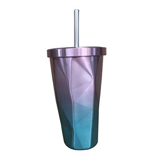 BESTonZON Edelstahl Tumbler mit Stroh heißen und kalten Doppelwand Trinkbecher Kaffeetassen 500ml unregelmäßigen Diamant mit Deckel (Rosa und Blau)