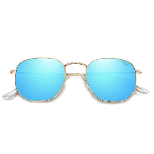 SOJOS Mode Polygon Sonnenbrille Damen Herren Verspiegelte Linse Leichte Unisex Brille SJ1072 mit Gold Rahmen/Blau Linse