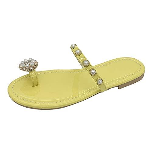 Shhyy Anillo De Las Mujeres Sandalias De Una Sola Banda Flip Flops Slim Pearl Cuero Sandalias Planas Verano Casual Cómodo Abre Toe Beach Zapatos,Amarillo,35