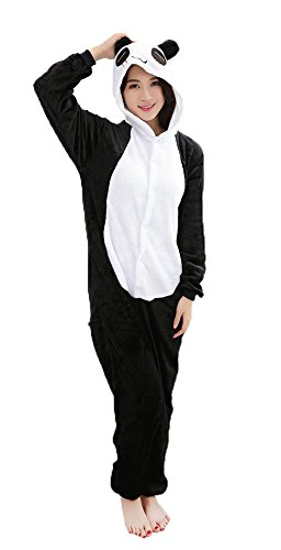Panda Cosplay Pajamas Adult Unisex Onesies Animal Sleepwear Halloween Costume (L (Height 170-180 cm)) Black-White