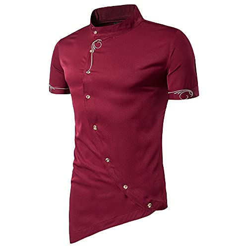 Shirt Hombre Slim Fit Estampada con Botones Irregulares Tapeta Hombre Shirt Ocio Verano Cuello Alto Manga Cortahombre Shirt Sin Cuello Moda Urbana Vintage Hombre Shirt Músculo F-Red L