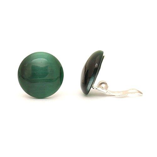 Idin Jewellery - Orecchini a clip rotondi in vetro effetto occhio di gatto, colore: verde scuro