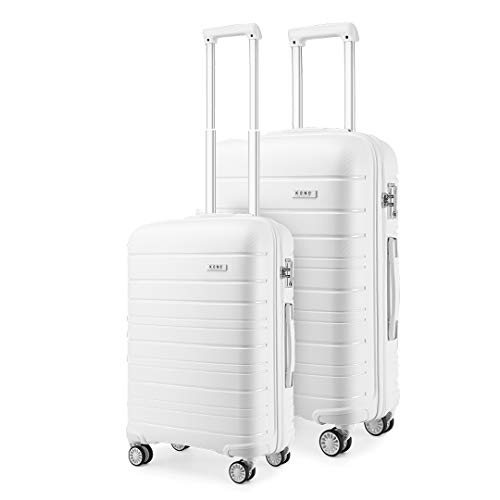 Kono 2 Piece Lightweight Luggage Set Polypropylene 20' Carry-on Hand Cabin Luggage + 28' Check in Hard Shell Suitcase with TSA Lock (White)