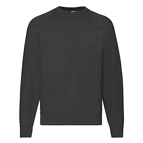 Fruit of the Loom Raglan Sweatshirt, Felpa Uomo, Nero (Black), Large