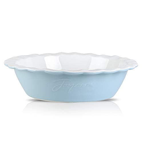 Joyroom Ceramic 9 Inches Pie Pan For Baking, Ceramic Pie Dish, Deep Dish Pie Pan, Pie Plate, Ceramic Baking Dish Pan for Dessert, Round Baking Dish Letter Collection (Baby Blue)
