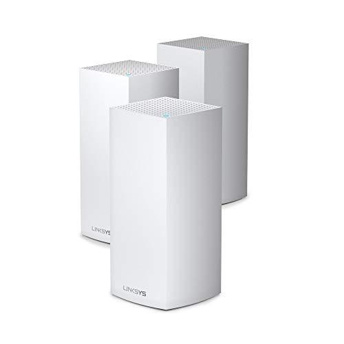 Linksys MX12600 Velop Tri-Band WiFi6-Mesh-WLAN-System (AX4200 WLAN-Router/Extender für ein nahtloses WLAN von bis zu 830m² & 3,5-mal höhere Geschwindigkeiten für über 120 Geräte, 3er-Pack, Weiß)