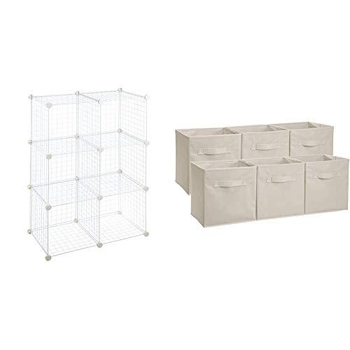 AmazonBasics - 6 Regalwürfel, Drahtregal, Weiß & Aufbewahrungsboxen in Würfelform, faltbar, 6er-Pack, Beige
