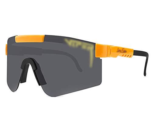 ZHMIAO Gafas de Seguridad con templos Ajustables y Almohadillas de Nariz cómodas, UV400 Anti-Ultraviolet Rays Gafas de Ciclismo Gafas de Sol polarizadas Black