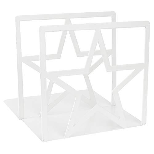 TomaiBaby Weiße Buchstützen Dekorative Buchstützen für Regale Rutschfeste Metall Buchstützen Stern Bücherenden Regalhalter Büro Bibliothek Tischplatte Buchstopper 1 Paar