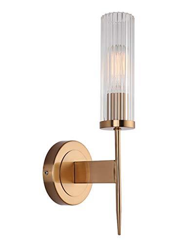 YHNJI Apliques de luz de Pared de Pantalla de Cristal de para Dormitorio, Sala de Estar, Comedor, Aplique de Pared, Lámpara de Pared de Estilo Moderno (Dorado) 38.5 * 12 * 14CM, Base: E27 * 1