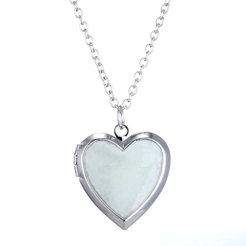 Stayoung Jewellery - Clásico diseño simple relicario de foto en forma de corazón colgante collar para mujeres, emite color azul