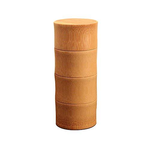 Japanischer Teebehälter aus Bambus, für lose Teeblätter, mit Deckel - Aufbewahrungsboxen Kleine Reine gerade Bambus Tee Kaffeebehälter Dichtung Tee Reise tragbare kleine Kanne Tee Veranstalter Caddy