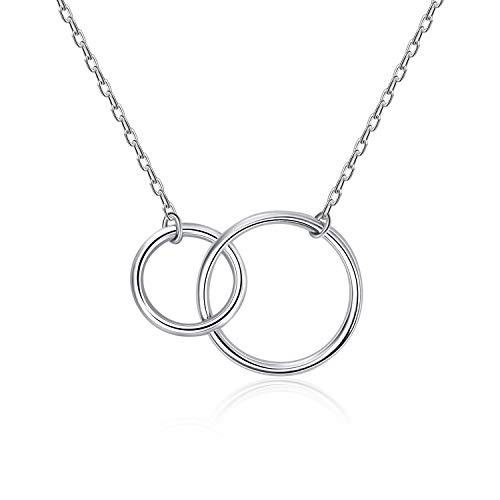 CHIC & ARTSY 925 Sterling Silver Two Interlocking Infinity Circles Pendant Necklace for Women Sister Double Rings Best Friendship Necklace Jewelry Gift (Double Circles)