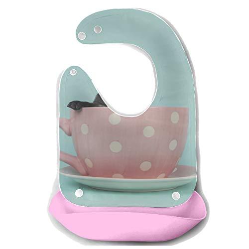 Bavaglini grandi per l'alimentazione Bellissimo cucciolo seduto nella tazza Grembiule in silicone staccabile Asciugamano per mouse Asciugamano per bambini Dribble Drool Bavaglino Neonato Bavaglini gr