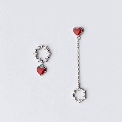 WOZUIMEI Orecchini da Donna in Argento S925 con Diamante Circolare Dolce Amore Orecchini Lunghi Asimmetrici Orecchini a Forma Di Cuore GioielliOrecchini in argento S925
