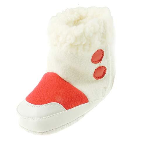 Glamour Girlz Chaussons d'hiver chauds pour bébé fille et garçon Motif à pois blancs Rose 3–6 mois 12 ans