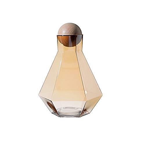 YIFEI2013-SHOP Jarra de Agua Jarra de Vidrio de Vidrio Hexagonal con tapón de Bola de Registro Especialmente diseñado para un Gran caño, no fácil de derramar fácil de Limpiar Jarras (Color : Brown)