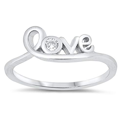 White CZ Wholesale Love Script Promise Ring New .925 Sterling Silver Band