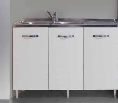 azurlone Sottolavello Colore Bianco per lavello Inox Cm 120x50xH 85 con 3 Ante