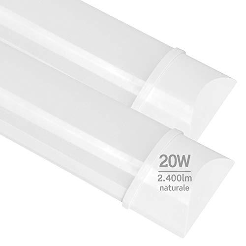 2x Plafoniere LED 20W 60cm Professionale Alta Efficienza Garanzia 5 Anni 2400 lumen - Forma: Tubo Prismatico Slim - Luce Bianco Naturale 4000K - Fascio Luminoso 120°