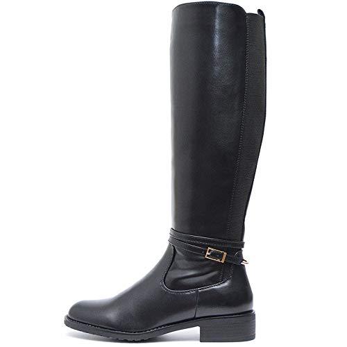 Vain Secrets Damen Edele Reitstiefel warm Gefütterte Stiefel Langschaft Boots Stiefeletten in Braun oder Schwarz (Schwarz, 39)