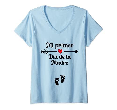 Mujer First Día de la Madre Anuncio Embarazadas Mamá en Práctias Camiseta Cuello V