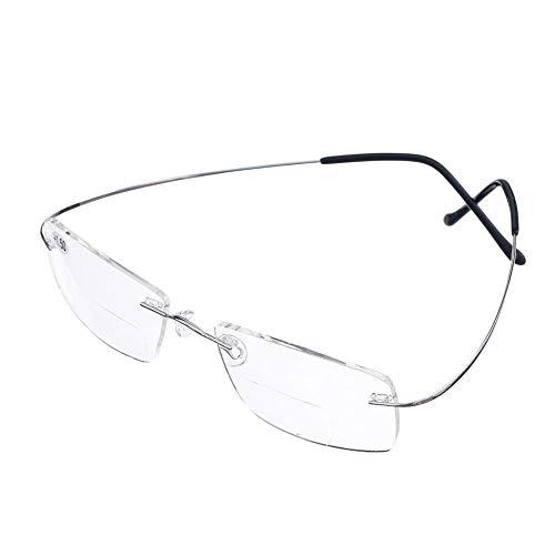 Bi Tao Super Light 100% Titanium Bifocal Reading Glasses Men Women Fashion Rimless Reading Eyeglasses + Eyewear Case(Silver,+2.00)