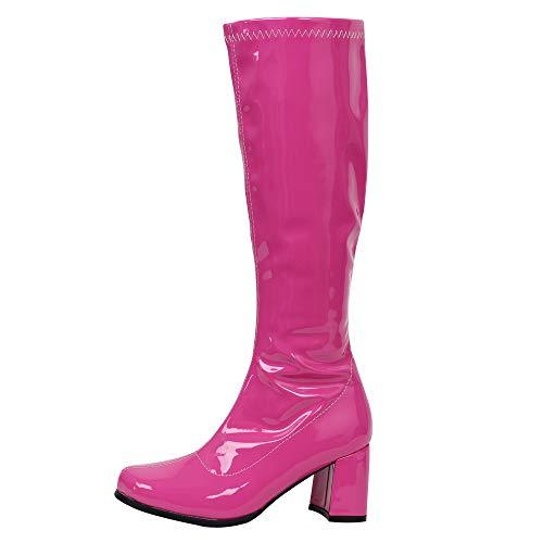 Gogo Stiefel für Frauen, kniehohe Stiefel, PU Leder Reißverschluss Damen Party Tanzschuhe, Pink (Pfirsichfarben glänzend), 40 EU