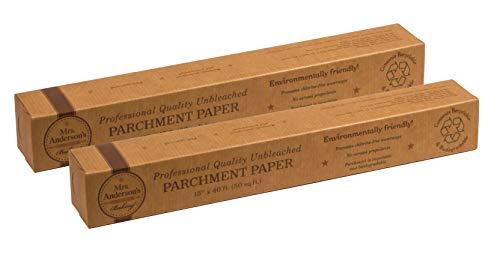 Mrs. Anderson's Baking 32000/2 Papel de parchment no adherente, calidad profesional, 50 hojas cuadradas, juego de 2, sin blanquear