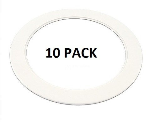 10 Pack-White Light Trim Ring Recessed Can 6