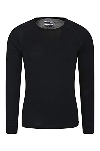 Mountain Warehouse Merino Langarm Baselayer-Thermotop für Herren - Leichtes T-Shirt, warm, antibakteriell, schnelltrocknend - Ideal bei kaltem Wetter Winter Baselayer Schwarz Large