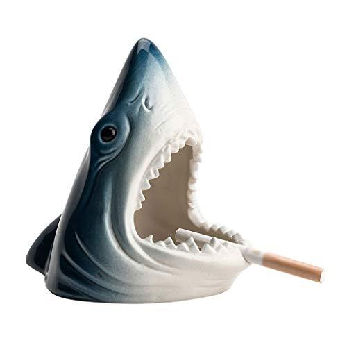 FABAX Cenicero de Cigarrillos Cigarrillos ceniceros, cerámica tiburón cenicero, cenicero de Mesa, Decoración del Bonito Regalo for el hogar/Oficina de Soporte for el cigarro Cenicero (Color : Black)