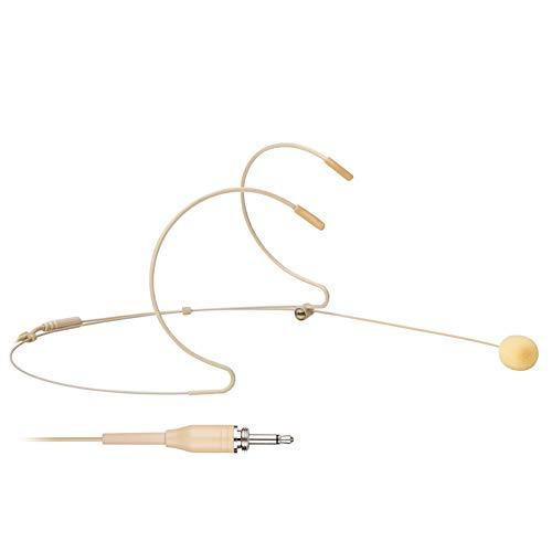 Headset- / Headworn-Mikrofon - Mono-Außengewinde, Schraubensicherung, 3,5-mm-Klinkenstecker für drahtloses Mikrofonsystem, Computer, Digitalrekorder - Beiges, omnidirektionales Dual-Earhook-Headset