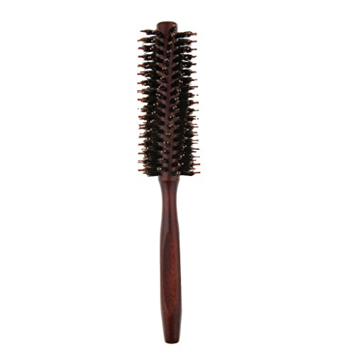 Rund Haarbürste Flaschenbürste Fönbürste, Rundbürste mit Wildschweinborste aus Holz - Twill Zähne