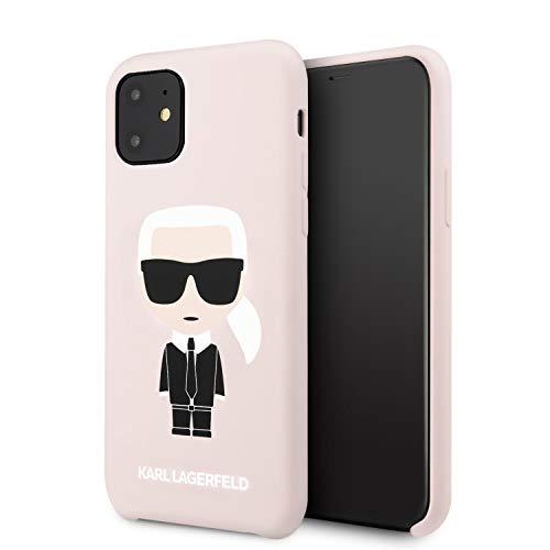 CG MOBILE Karl Lagerfeld - Custodia Rigida in Silicone per iPhone 11, con Interno in Morbida Microfibra, Colore: Rosa Chiaro