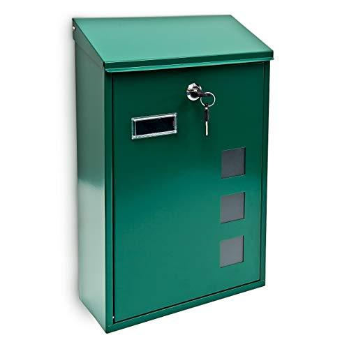 Relaxdays 10017417_G Grün Design Briefkasten aus Metall 25x40 cm