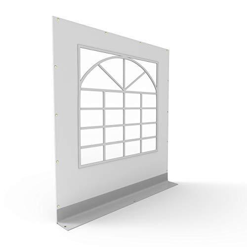 TOOLPORT PVC Seitenteil für Partyzelt Pavillon Gartenzelt 2x2m Seitenwand mit Fenster (eckig) grau-weiß feuersicher