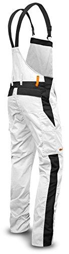 strongAnt® - Malerhose Männer Arbeits-Latzhose mit Kniepolstertaschen Berlin Kombi-Hose - Made in EU - Größe: 50, Farbe: Weiß
